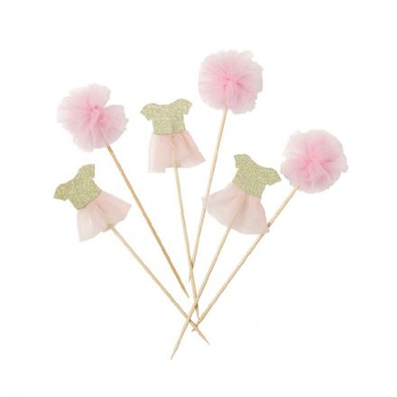 Cake Toppers, pom pom & 6 tutu toppers - Pack of 12